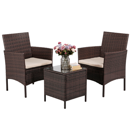 Topeakmart 3PCS Bistro Patio Porch Outdoor Garden Furniture Set Rattan Wicker Chairs and Table with Coffee Table ()