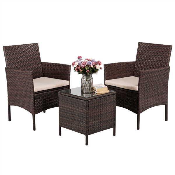 Topeakmart 3 Piece Wicker Chairs and Table with Coffee Table