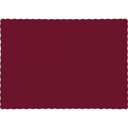 Club Pack of 600 Solid Burgundy Red Disposable Paper Table Placemats 13.5