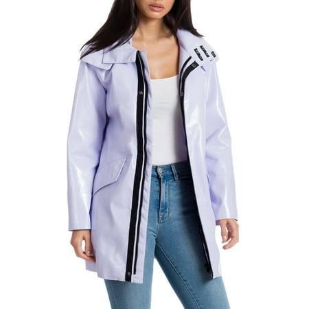 Avec Les Filles Patent Faux Leather Raincoat Charlotte Leather Coat
