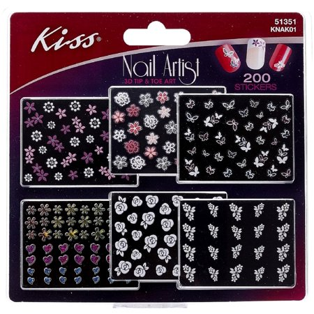 KISS Nail Artist Sticker 3D Tip & Toe Art 200 ea (Pack of 2) (Kiss Nail Art Stickers Halloween)