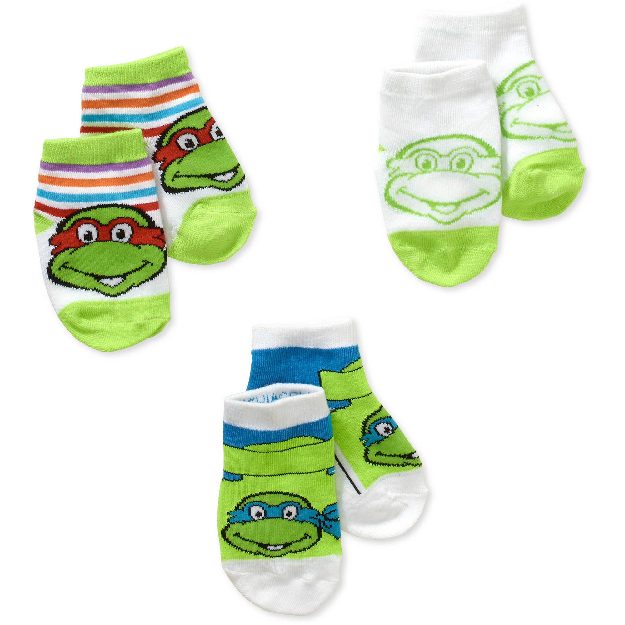 Teenage Mutant Ninja Turtles Newborn Baby Boy Quarter Socks - 3 Pack