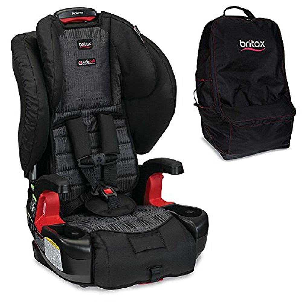 Britax Pioneer G1.1 Harness-2-Booster Car Seat, Domino With Travel Bag Bundle