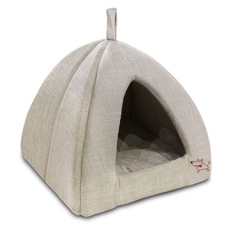Best Pet Supplies Linen Tent Bed for Pets - Beige -