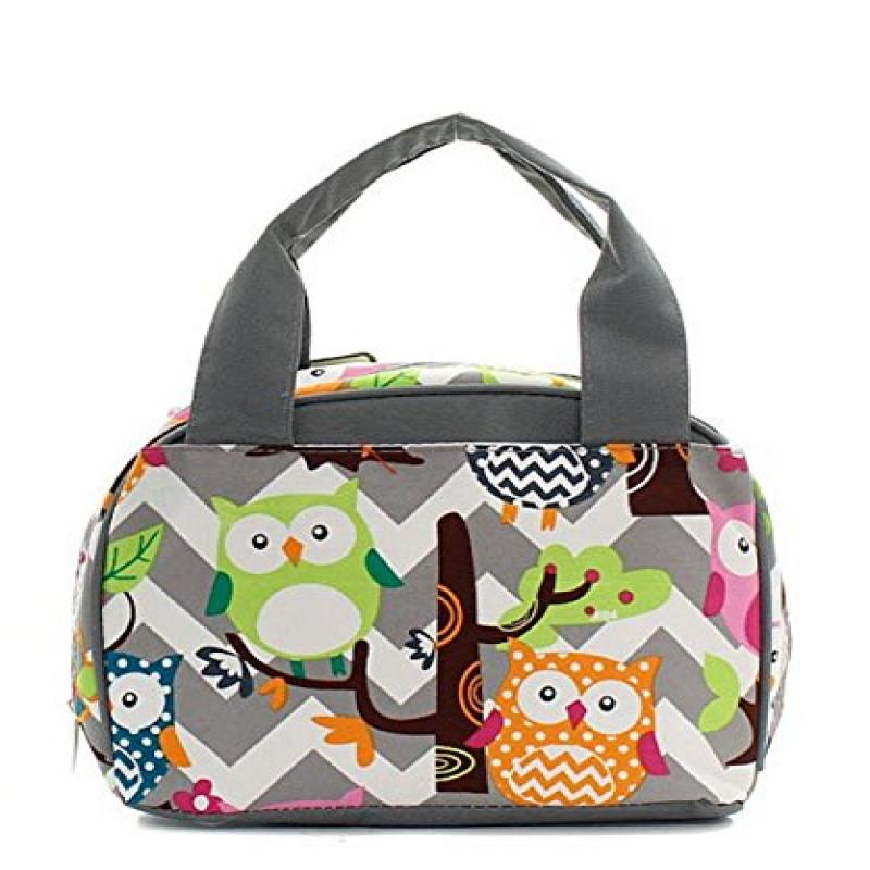 N. Gil Women and Children's Insulated Lunch Bag (Owl Grey/Grey)