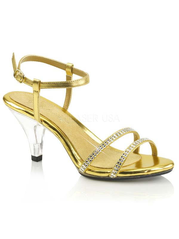 """Gold Met Pu/Clr Fabulicious Shoes 3"""" Belle Size: 11"""