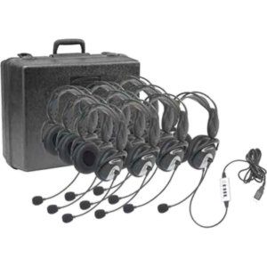 Califone 4100-10 USB Headset w/ Storage Case - 10 Pack