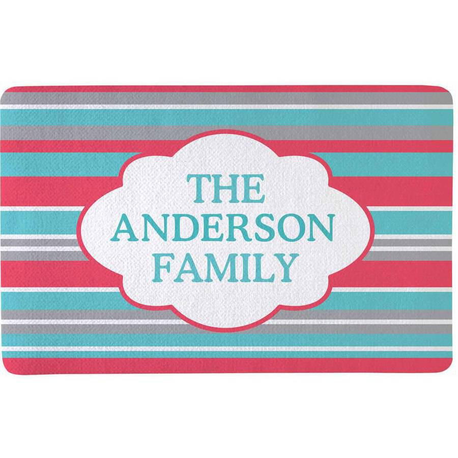 Personalized Summer Stripes Doormat, Pink, Available in Doormat or Comfort Mat