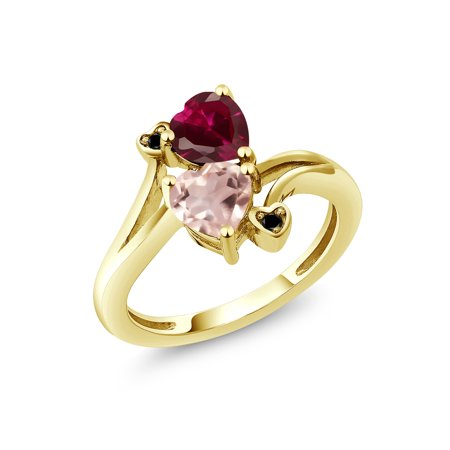 1.70 Ct Red Created Ruby Rose Rose Quartz 18K Yellow Gold Plated Silver Ring
