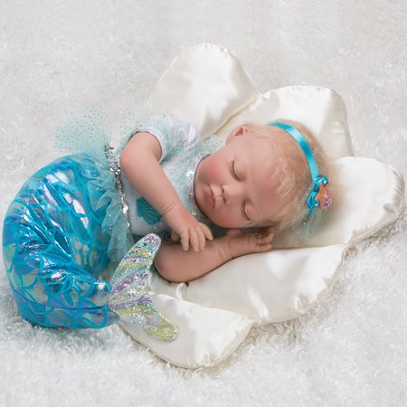 Paradise Galleries Mystic Mermaid Doll, 20 inch Reborn Baby Girl, Blonde Mohair & Actual Tail w/ Doll Armature, 4-Piece Set Be Sweet Mohair