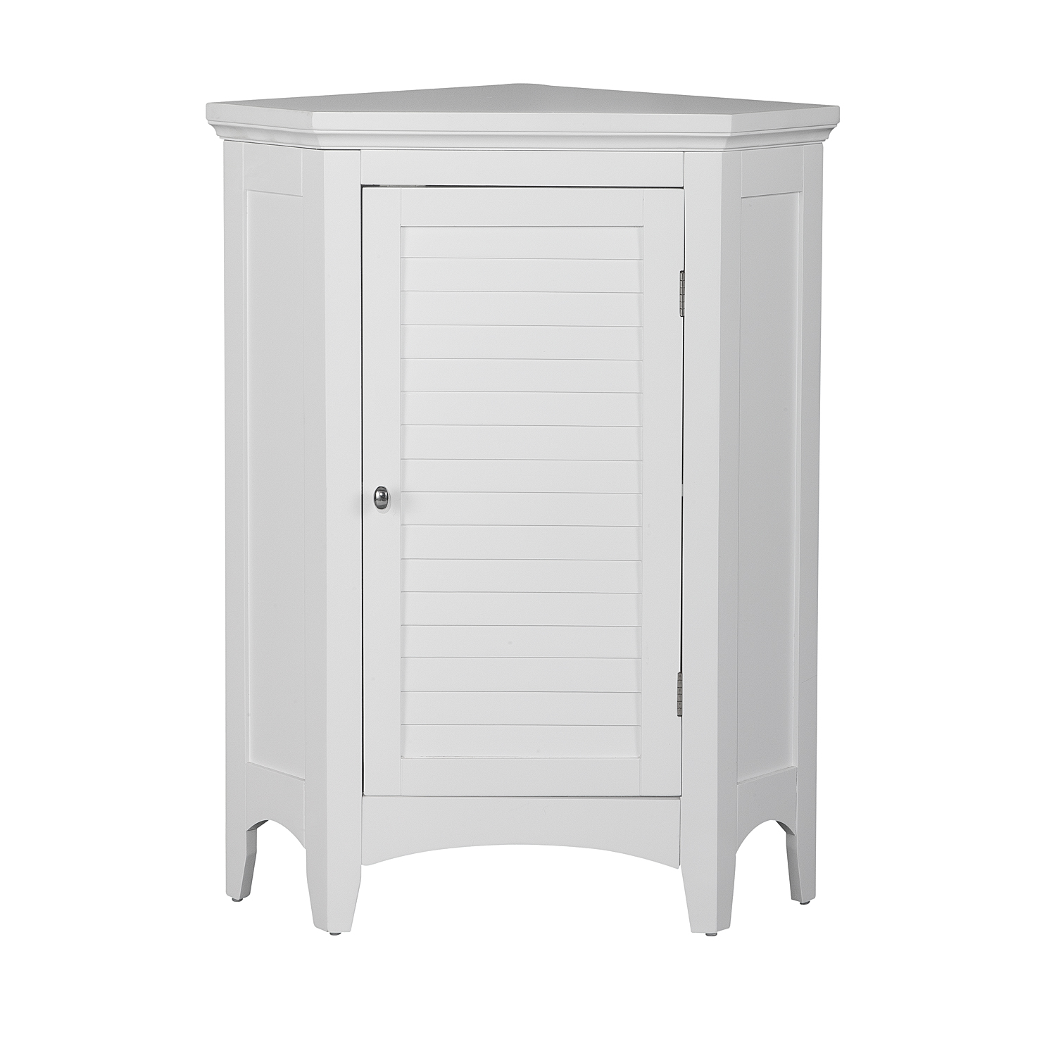 Elegant Home Fashions Sicily Corner Floor Cabinet with 1 Shutter Door, White