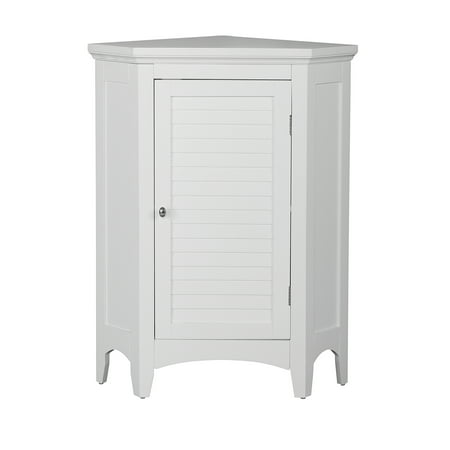 Elegant Home Fashions Sicily Corner Floor Cabinet With 1 Shutter Door White