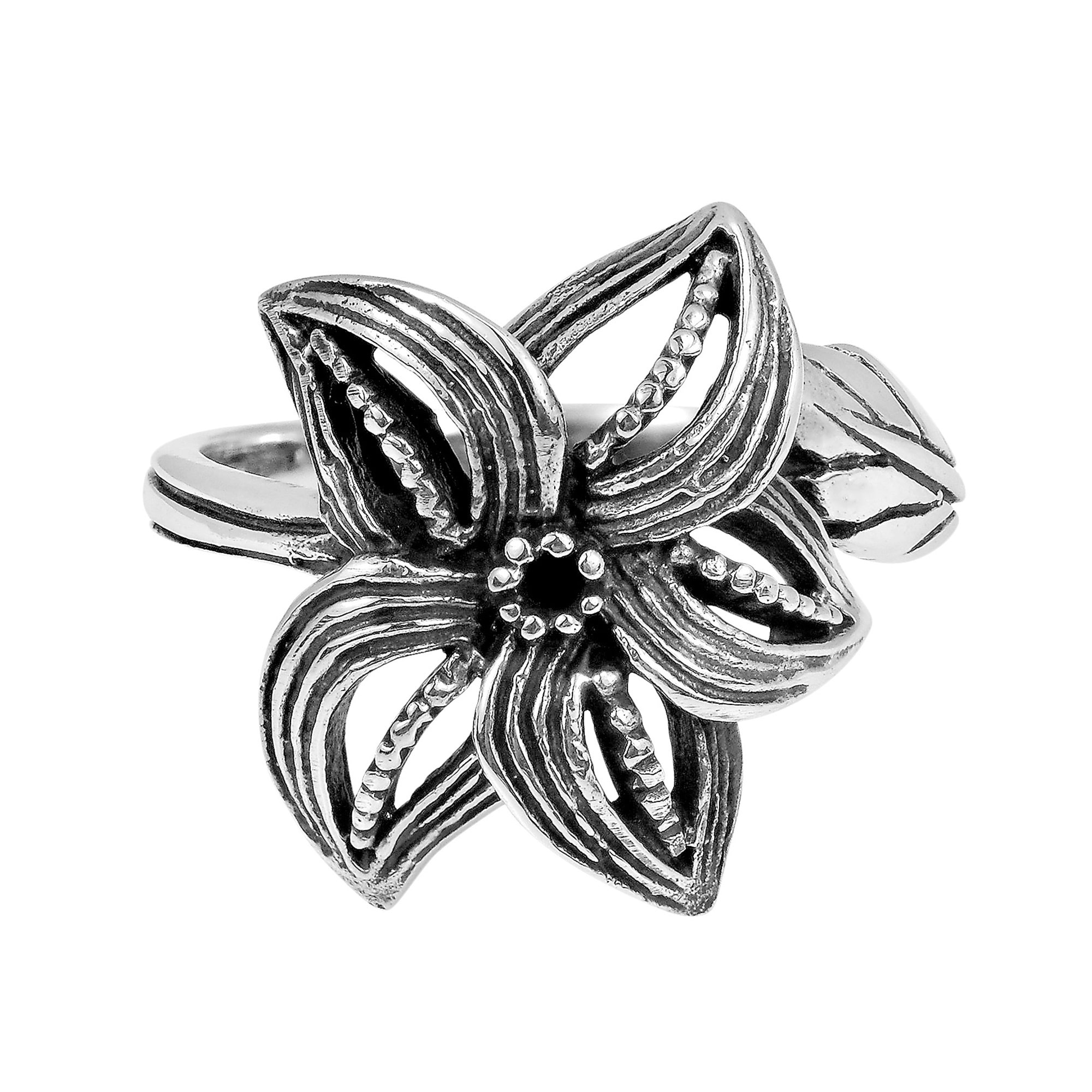 Aeravida Handmade Curved Petals Beautiful Siam Flower .925 Sterling Silver Ring (Thailand)