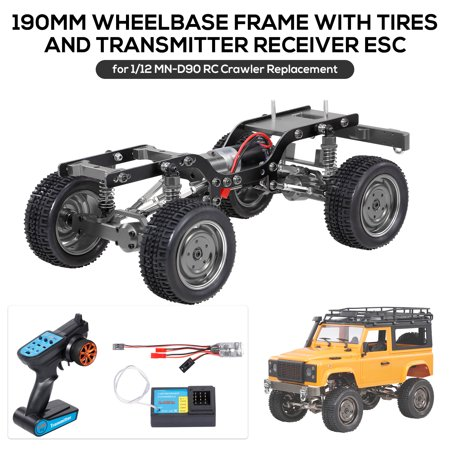 MN-D90 Replacement 190mm Full Metal Chassis Frame with Tires 370 Motor Transmitter Receiver Servo ESC for 1/12 RC Crawler Car DIY Parts - image 1 of 7