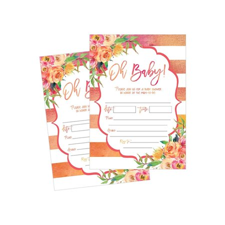Floral Invite - 50 Fill in Cute Baby Shower Invitations, Baby Shower Invitations Floral, Pink and Gold, Neutral, Blank Baby Shower Invites for girl, Baby Invitation Cards Printable