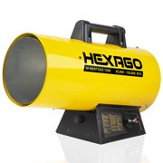 HEXAGO 150,000 BTU Adjustable Portable Liquid Propane Gas Forced Air Heater, Height Adjustable, CSA Listed, Yellow, Heating up to 3,750 sqft