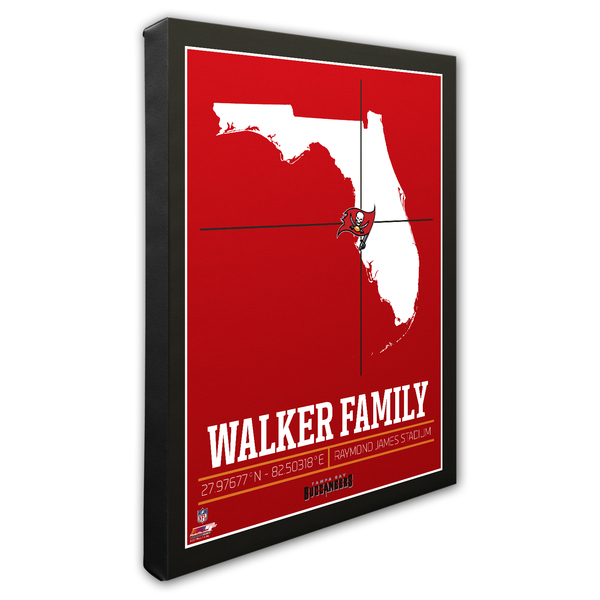 """Personalized NFL Tampa Bay Buccaneers - Family Name / Stadium with GPS Coordinates - 16"""" X 20"""" Canvas"""