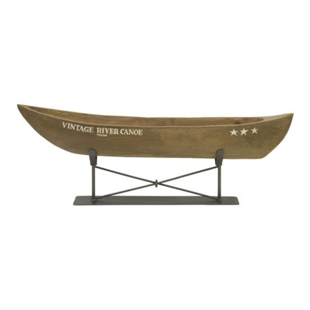 "29.5"" Classy Hand Carved Vintage Canoe on Metal Stand Table Top Decoration"