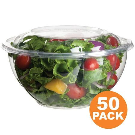 Clear Plastic Bowl With Dome Lids for Salads Fruits Parfaits, 32oz, Disposable, Medium Size [50 (Medium Lavatory Bowl)