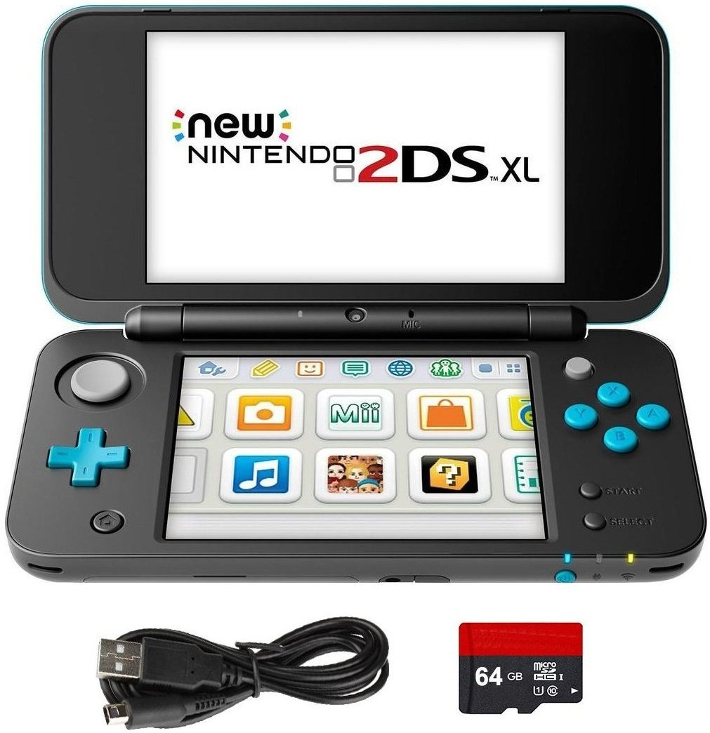New Nintendo 2DS XL 4 Items Bundle: New Nintendo 2DS XL - Black + Turquoise Console, USB Sync Charge USB Cable and Micro SD Card 64GB