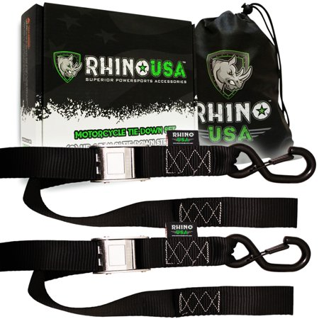 RHINO USA Cam Buckle Motorcycle Tie Down Straps (2 Pack) Lab Tested 3,328lb Break Strength, Stainless Cambuckle Tiedown Set with Integrated Soft Loops - Better Than a Ratchet Strap…