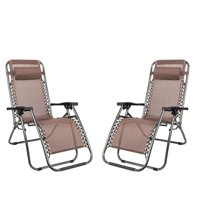 Ktaxon Patio 2PCS Zero Gravity Folding Chaise Lounge Chairs with Saucer