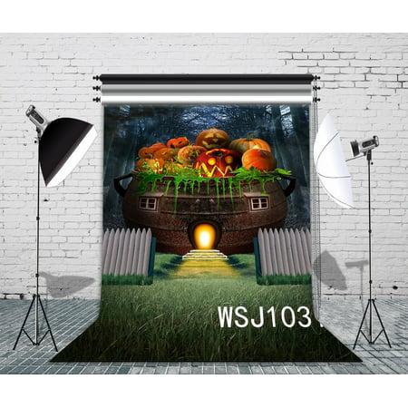 HelloDecor Polyster 5x7ft Pumpkin Lanterns Feast Photography Backdrop Photo Background Studio Prop