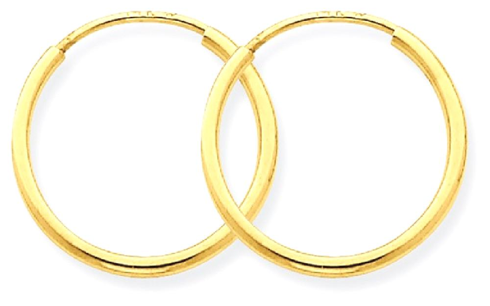 IceCarats 14k Yellow Gold 1.25mm Endless Hoop Earrings Ear Hoops Set Round Fine Jewelry Gift Set For Women Heart by IceCarats