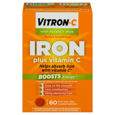 - Vitron-C High Potency Iron Supplement with Vitamin C, 60 Count