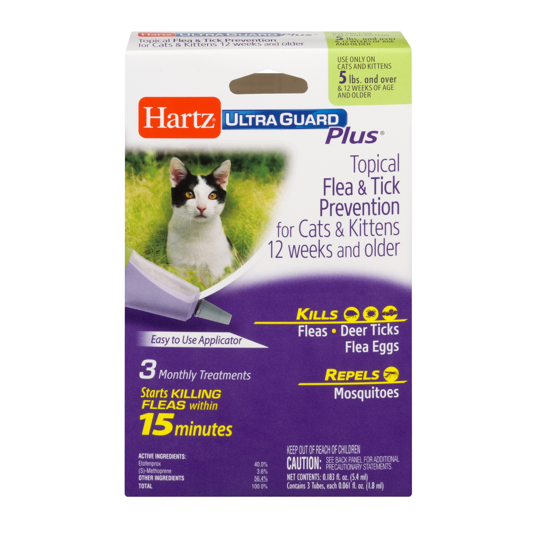 Hartz UltraGuard Plus Topical Flea & Tick Prevention for Cats & Kittens, 3 Monthly Treatments