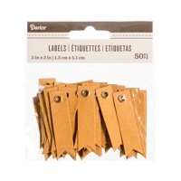 Darice Solid Kraft Blank Eyelet Tags: 2 X .5 Inches, 50 Pieces