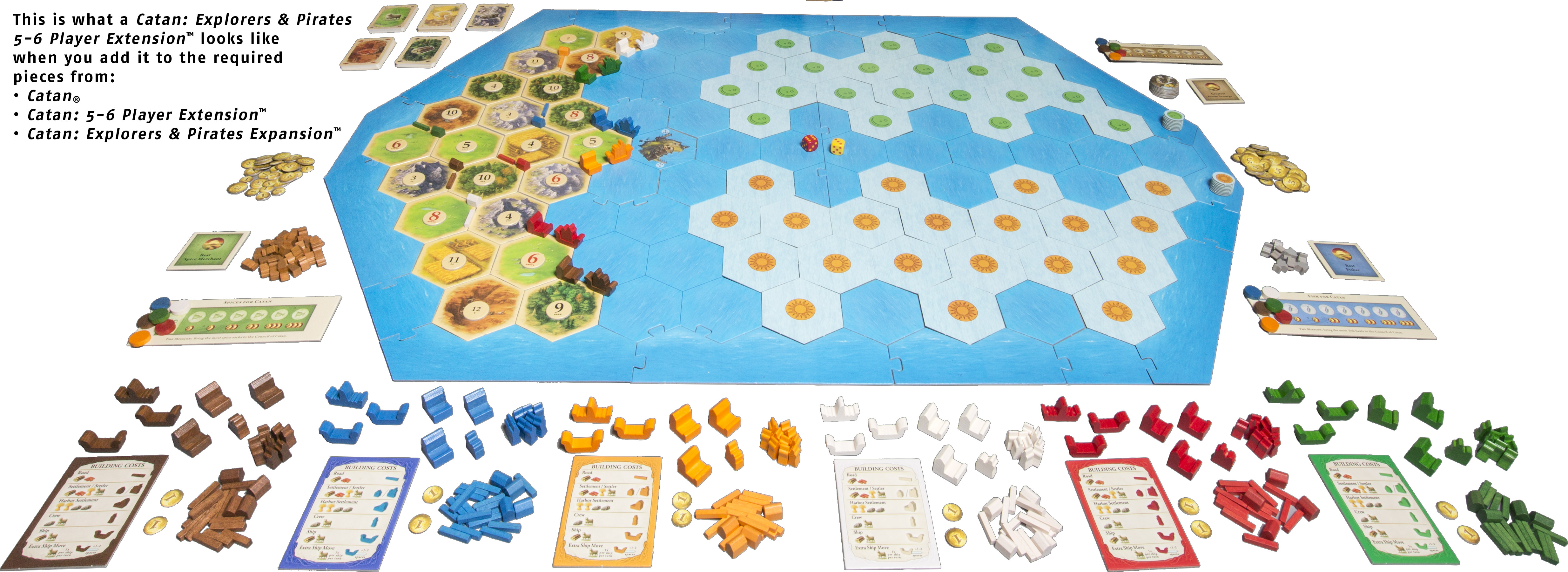 5-6 Player Extension Explorers /& Pirates Catan Board Game Expansion Settlers Of