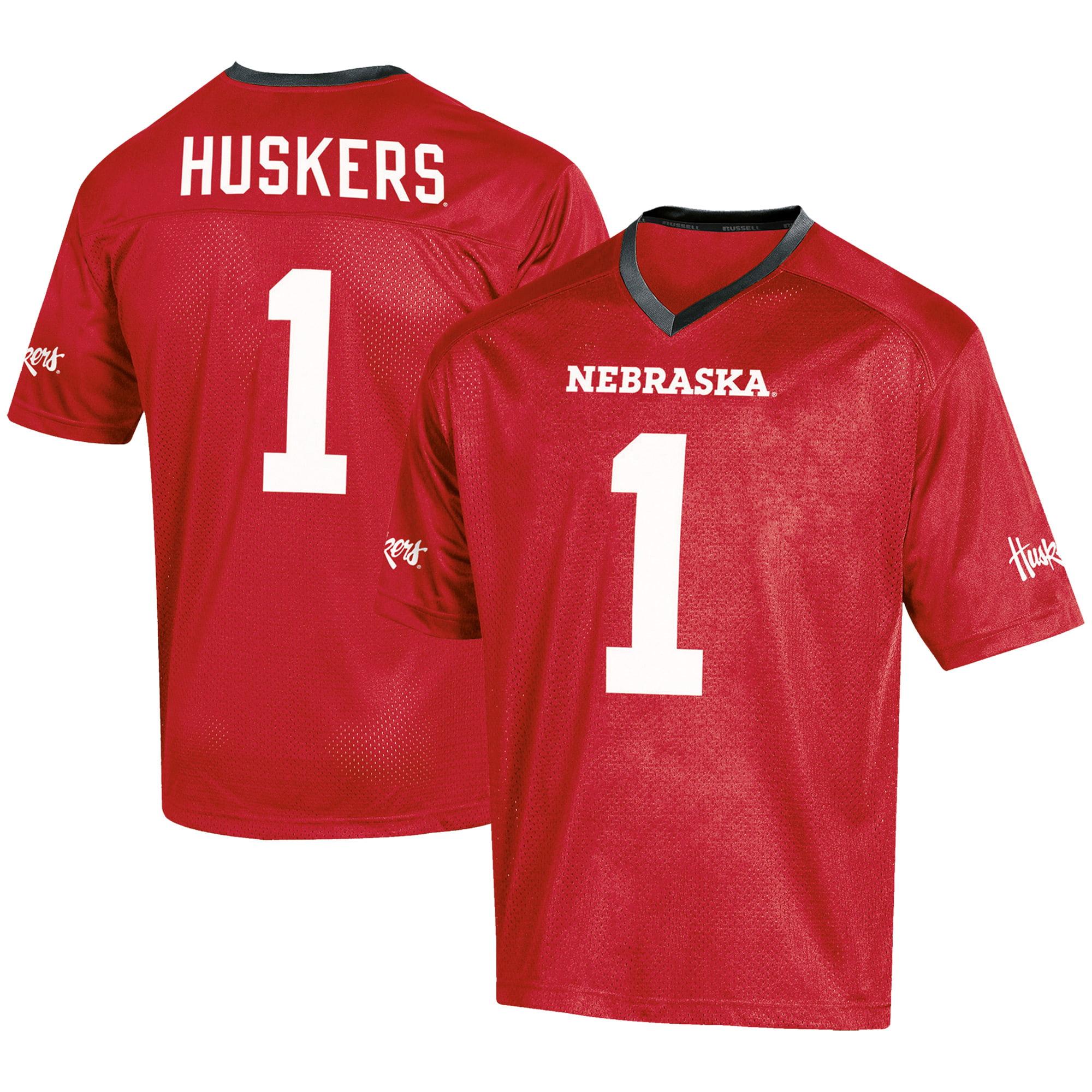 Men's Russell #1 Scarlet Nebraska Cornhuskers Fashion Football Jersey