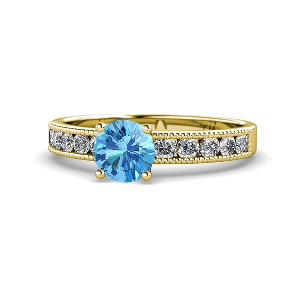 Blue Topaz and Diamond Engagement Ring with Milgrain Work 1.75 Carat tw in 14K Yellow Gold.size 8.75