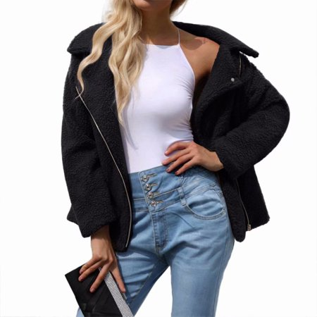 Shearling Leather Coat - Women's Long Sleeve Faux Leather Shearling Fur Hooded Coat Jacket-Black