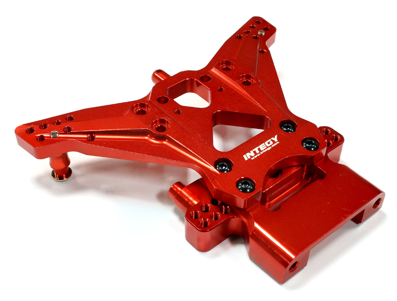 Integy RC Toy Model Hop-ups C25480RED Billet Machined Rear Shock Tower for Traxxas 1 10... by Integy