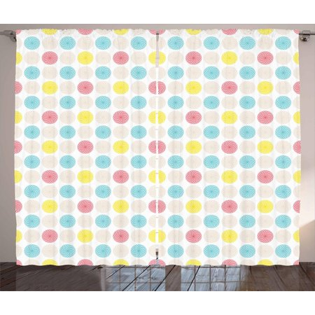 Geometric Curtains 2 Panels Set, Whirlpool Form Colorful Circles in Symmetrical Order Vibrant Colored Funky Design, Window Drapes for Living Room Bedroom, 108W X 63L Inches, Multicolor, by Ambesonne