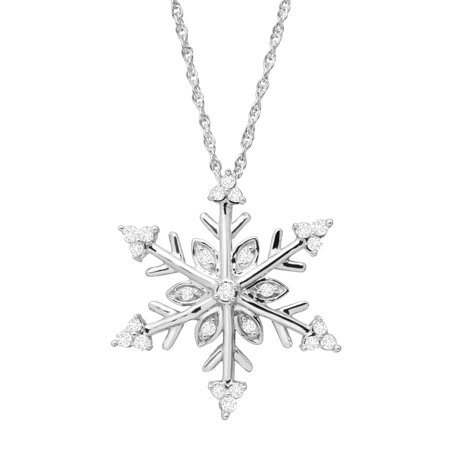 Sterling Snowflake (1/4 ct Diamond Snowflake Pendant Necklace in Sterling)