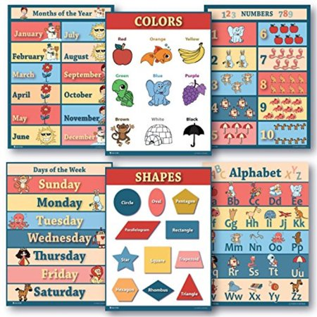 6 Educational poster pack Charts for classrooms early education for learning Alphabet Abc, days of the week poster, shapes (Best Way To Hang Posters In Classroom)