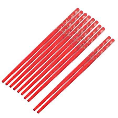 Red Bamboo (Bamboo Flower Pattern Chinese Style Wedding Gift Chopsticks Red 5)
