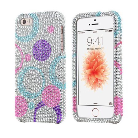(iPhone SE Case, [Purple Circles On Silver] Bling Hard Plastic Snap On Shell Case for Apple iPhone SE (2016) / 5S (2013) / 5 (2012), Cute, fashionable and.., By REDSHIELD)