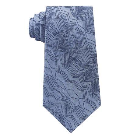 Calvin Klein Men's Modern Woven Zig Zag Pattern Silk Tie Blue Diamond Patterned Silk Tie