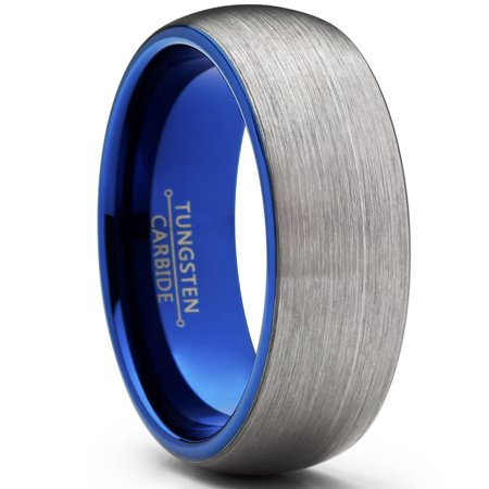 Men's Tungsten Carbide Wedding Band Ring, 8mm Dome Brushed Blue Comfort Fit Band 7 to 15