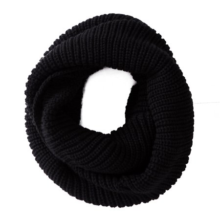 Palestinian Scarf - HDE Women's Winter Infinity Scarf Warm Knit Wrap Circle Loop Thick Cowl (Black)