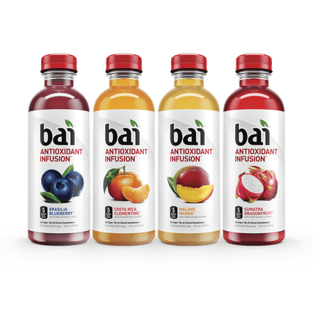 Bai Antioxidant Infused Beverage, Rainforest Variety Pack, 18 Fl Oz, 12