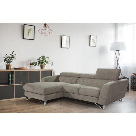 J M Sparta Mini Grey Fabric Sectional Sofa Left Hand By Nicoletti