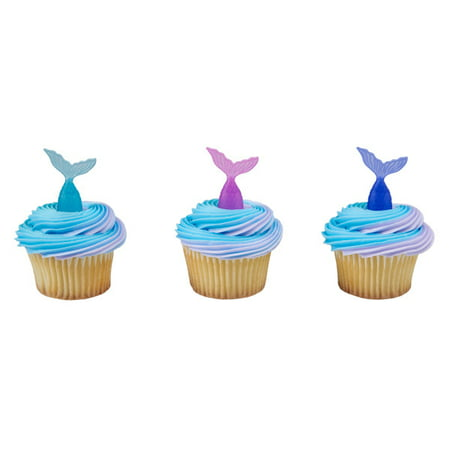 24 Mermaid Tail Decopics Cupcake Cake Picks Pics Birthday Party Favors Cake Toppers for $<!---->