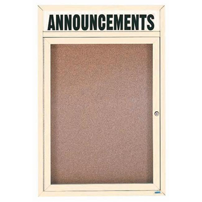 Aarco Products DCC3624RHIIV 1-Door Illuminated Enclosed Bulletin Board with Header - Ivory