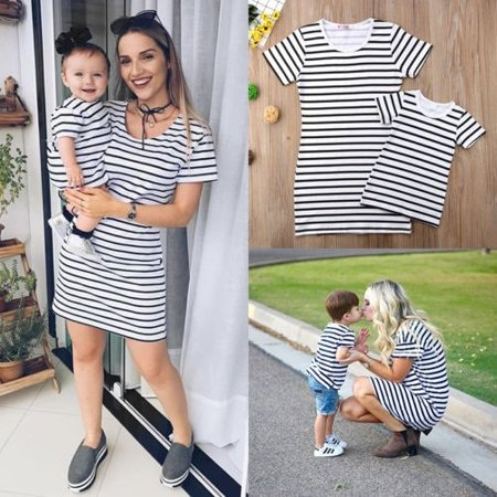 319544a4d3082 Mommy and Me Outfits Mother Daughter Matching Girl Striped Dress Family  Outfits - Walmart.com