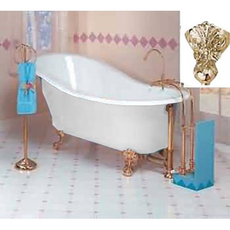 White Cast Iron Clawfoot Slipper Tub Gold Iron Eagle Feet | Renovator's Supply - Gold Tux